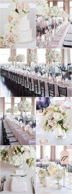 Glamorous white ballroom wedding reception idea; photo: Sarah Kate Photography