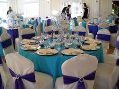 Turquoise And Purple Wedding Reception