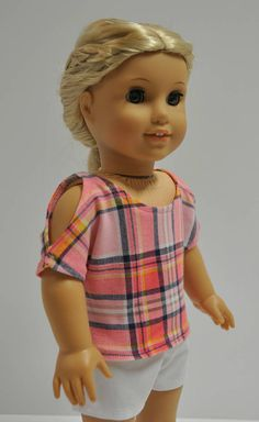 18 Inch Doll Clothes Pink Plaid Open Cold Shoulder Top Shirt