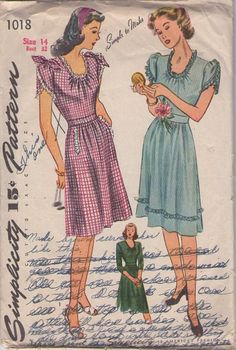 Simplicity 1018 Vintage 40's Sewing Pattern PRETTY Farmer's Daughter Simple to Make Ruffle Trim Scoop Neck Day Dress, Evening Dress