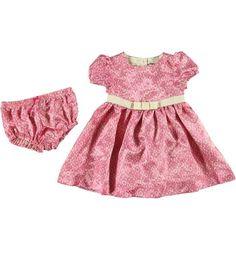 Infant Lace Print Charmeuse Dress Ensemble