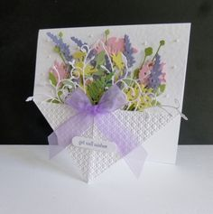 ~ Flower Basket by sistersandie - Cards and Paper Crafts at Splitcoaststampers Fancy Fold Cards, Folded Cards, Card Basket, Pop Up Box Cards, Bday Cards, Shaped Cards, Card Making Techniques, Get Well Cards, Card Tutorials