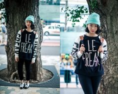 H&M Beanie, Forever 21 Sweater, Black Skinnies, Patent Leather Brogues, Mac Morange