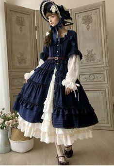 Little Dipper -Classic Mary- Vintage Classic Lolita Open Front OP Dress,Lolita Dresses, Harajuku Mode, Harajuku Fashion, Kawaii Fashion, Lolita Fashion, Cute Fashion, Girl Fashion, Vintage Fashion, Fashion Boots, Estilo Lolita