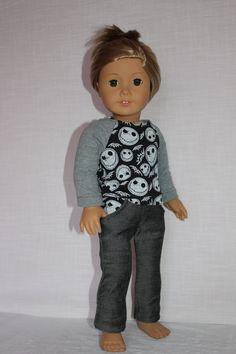 18 inch doll clothes skeleton print black by magoogesmusedesigns