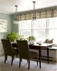 Sunny Transitional Dining Room by Celi St.Onge Like the beadboard design on the window seat and the valance, as well as the color combo of walls