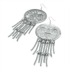 Large Drop Pierced Fashion Earrings Antique Silver