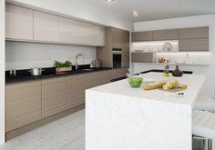 Burbidge's Malmo Kitchen in Gloss Cashmere and Burbidge's Isala Kitchen in Warm Grey Oak