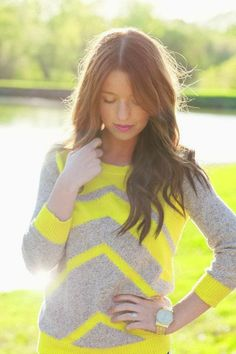 Neon Chevron Sweater