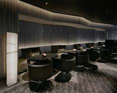 Dramatic Splendid Modern Bar lounge Design in Mysterious Black . Lounge Design, Bar Lounge, Hotel Lounge, Lounge Seating, Lobby Lounge, Lounge Ideas, Bar Interior Design, Interior Concept, Restaurant Layout