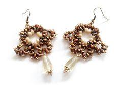 brown earringsbeadwoven earringsdrop earringsdangle by tizianat