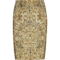 Alexander McQueen Honeycomb-jacquard pencil skirt (€845) ❤ liked on Polyvore featuring skirts, bottoms, alexander mcqueen, saias, gold, jacquard skirt, pencil skirt, brown pencil skirt en alexander mcqueen skirt