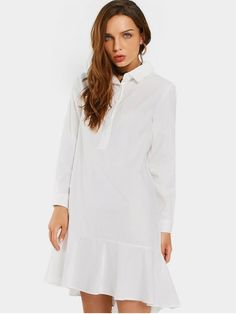 Ruffled Hem Half Buttoned Casual Dress - White S #Shoproads #onlineshopping #Dresses