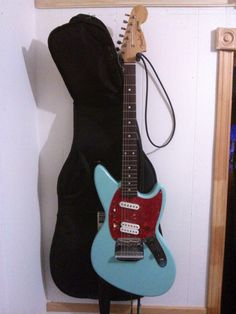 Fender Jagstang 1996 sonic blue original guitar with boss DS-1 pedal and case