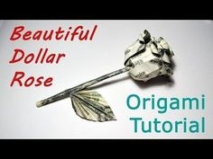3be5edb24 Beautiful Money ROSE with stem and leaf Origami Flower Dollar Tutorial DIY  Folded No glue and tape