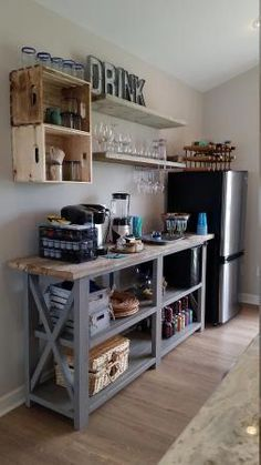 love this little kitchenette bar area made with a console plan and shelves! Rus… love this little kitchenette bar area made with a console plan and shelves! Rustic X beach beverage center Rustic Kitchen, Diy Kitchen, Kitchen Storage, Kitchen Decor, Kitchen Drawers, Beech Kitchen, Kitchen Ideas, Kitchen Shelves, Kitchen Cabinets