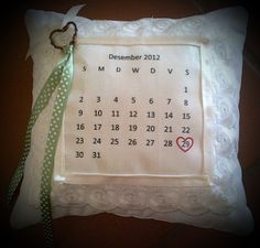 Wedding date calender ring bearer pillow, just love this item and so proud of it too!