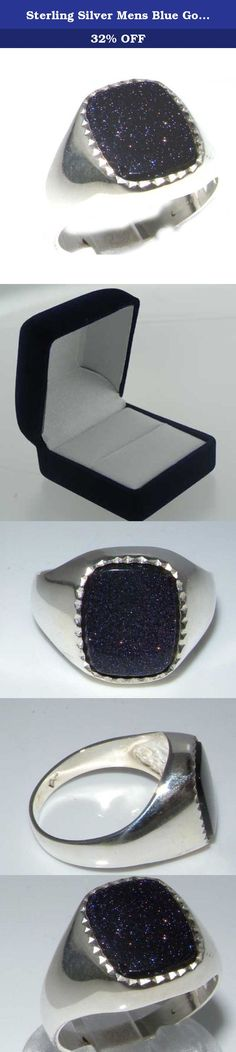 """Sterling Silver Mens Blue Goldstone Signet Ring - Size 8.75 - Sizes 8 to 12 Available. A 925 Sterling Silver Ring set with a large 12x10mm (0.48"""" x 0.40"""" inches) Blue Goldstone."""