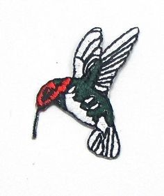 """Hummingbird Red Face with Green and Silver body, Embroidered Iron-On 1.5 x 1"""""""