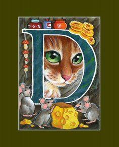 "Alphabet Cat ACEO Print Letter /""Z/"" by I Garmashova"