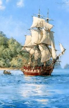 Tall Ships, Montague Dawson, Bateau Pirate, Old Sailing Ships, Pirate Art, Pirate Ships, Les Gifs, Ship Paintings, Wooden Ship