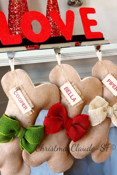 Dog Bone Christmas Stocking, Unique Burlap Pet Holiday Stocking with burlap bows. Great Quality! Many colors! Beautiful! by ChristmasClaude on Etsy https://www.etsy.com/listing/158430895/dog-bone-christmas-stocking-unique