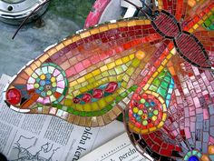 Mosaic Butterfly wall hanging - close up