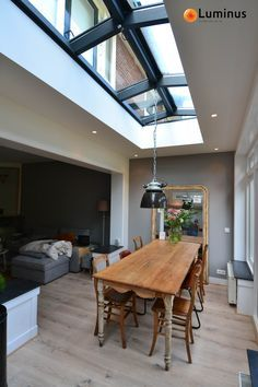 I love big windows and skylights in the kitchen, dining area. House Design, New Homes, House Extension Design, House Interior, House, Home Improvement Loans, Home, Interior, Home Decor