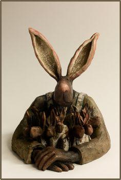 Galerie Joelle Gervais - Tous ensembles Earthenware, Ceramic Art, Sculpture Art, My Best Friend, Sculpting, Cool Art, Rabbit, Projects To Try, Bunny