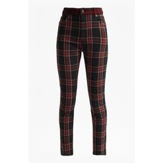 Tillie Tartan High Rise Denim Skinny Jeans ❤ liked on Polyvore featuring jeans, high rise skinny jeans, high waisted skinny jeans, high-waisted jeans, super stretchy skinny jeans and stretch skinny jeans
