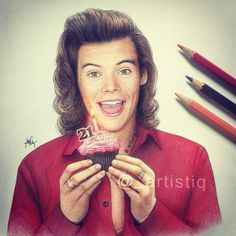 Harry Styles fanart, Happy Birthday cupcake,