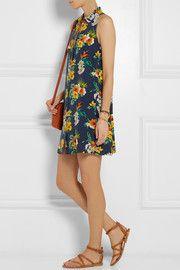 Mina floral-print washed-silk mini dress