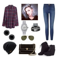 """""""Style #14"""" by avasunny12 ❤ liked on Polyvore featuring mode, Madewell, Frame Denim, Salvatore Ferragamo, Coal, Linda Farrow et Rolex"""