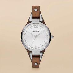 FOSSIL® New Arrivals Watches:Women Georgia Leather and Stainless Steel Watch – Tan ES3060 $75.00