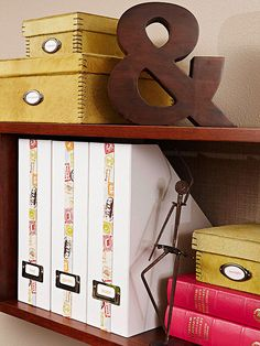 idea: dress up my magazine boxes with a strip of fun ribbon