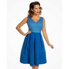 ce079329a77 Modré šaty s puntíky na živůtku Lindy Bop Valerie