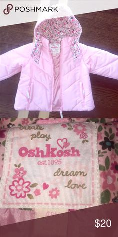 Toddler girls snow jacket Pink osh kosh snow jacket. Full zip closure with Velcro at the chin to protect those cute little cheeks from getting too cold. EUC. Worn a handful of times. Osh Kosh Jackets & Coats Puffers