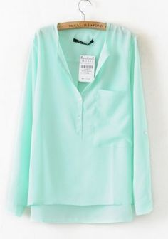 Green Collarless Long Sleeve Dipped Hem Blouse $28.00