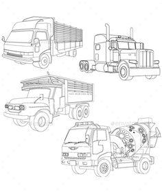 Truck Line Art