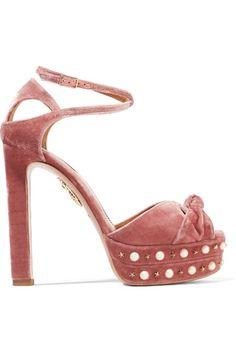 Aquazzura - Harlow Embellished Velvet Platform Sandals - Antique rose - IT36.5