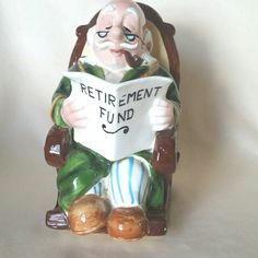 Hey, I found this really awesome Etsy listing at https://www.etsy.com/listing/289677713/bank-grandpa-retirement-fund-ceramic  Home & Living  Home Décor  bank  retirement fund  ceramic bank  funny bank  rocking chair  vintage  vintage bank grandpa bank  retirement bank  vintage figurine  vrev  vtpassion