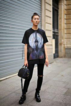 #LiuWen got Givenchy'd. #offduty in Paris.