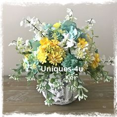 A personal favorite from my Etsy shop https://www.etsy.com/listing/608827711/aqua-wild-fresh-floral-arrangement-aqua
