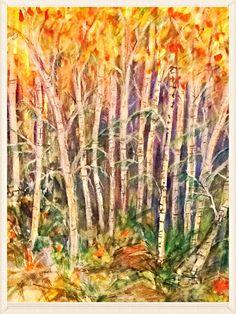 Birch Trees  Watercolour Artwork by Artist Sharon Wood swoody@internode.on.net