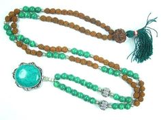 Healing Mala, Green Jade Rudraksha Meditation Prayer Beads Hindu Japamala- Fourth Heart Chakra