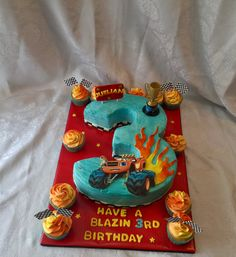 Blaze Monster Truck 3D Carved Number Cake with Matching Cupcakes