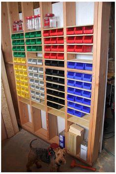 Garage Tool Storage, Workshop Storage, Workshop Organization, Diy Storage, Storage Ideas, Garage Shed, Diy Workshop, Storage Hacks, Storage Bins