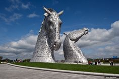 The Kelpies are mythological water horses and now visible in Scotland in the form of two, stunning 20m tall horse sculptures