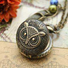 vintage owl pocket watch necklace