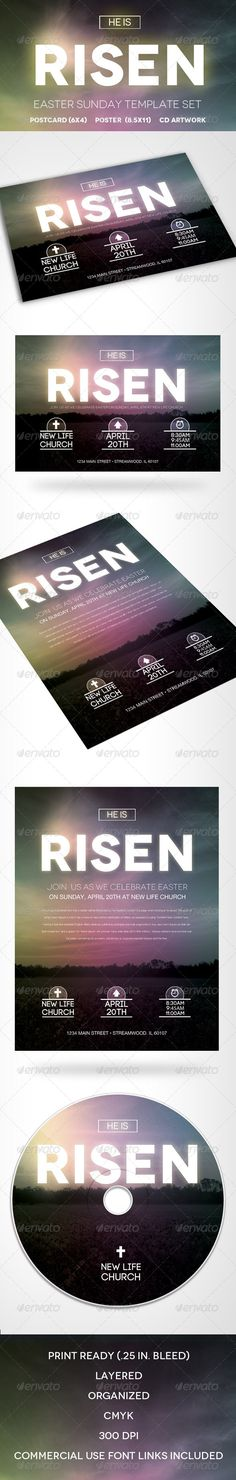 Easter Sunday Template Set (He is Risen) - Church Flyers